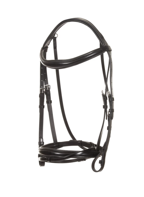 Makebe Elegant Leather Bridle with Headpiece and Convex Noseband