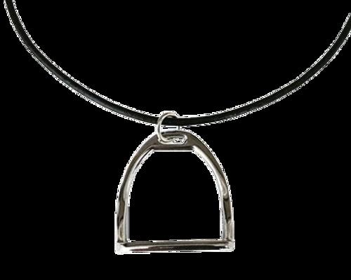 Ideana Horse Stirrup Snaffle Necklace - Black Silver