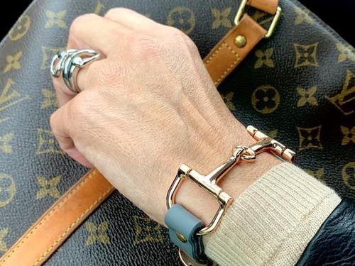 Ideana Leather Horse  Bit Bracelet -Gray