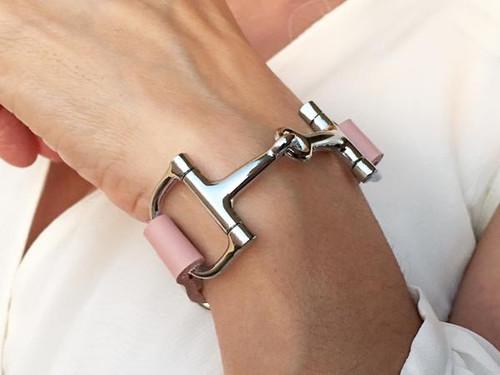 Ideana Soft Pink Leather Horse Bit Bracelet