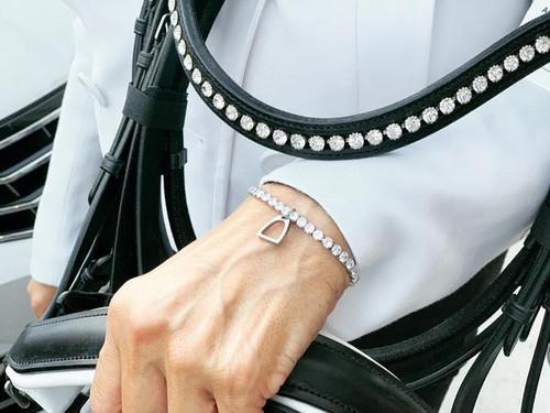 Ideana Stirrup Crystal Charm Bracelet - Clear Cubic Zirconia