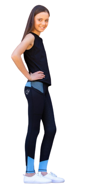 Bare Equestrian Youth Performance Riding Tights - Periwinkle