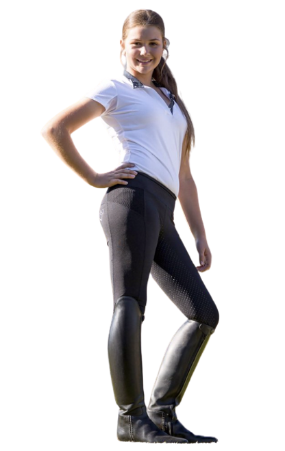 Bare Equestrian Youth Performance Riding Tights - Black Rider