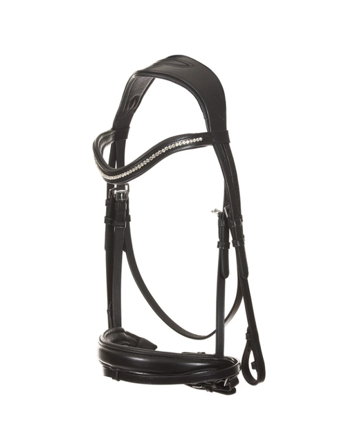 Makebe Black Leather Dressage Bridle w. Low Band Zirconia