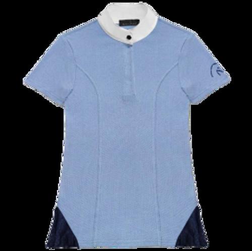 Razzapura Women's Blue Short Sleeve Competition Polo with Lace Hem