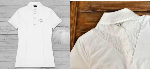 Razzapura Women's White Lace Back Short Sleeve Competition Polo