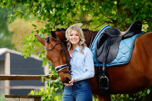 PS of Sweden Dressage Pad & Polo Wraps Set - Full - Petrol Ruffle
