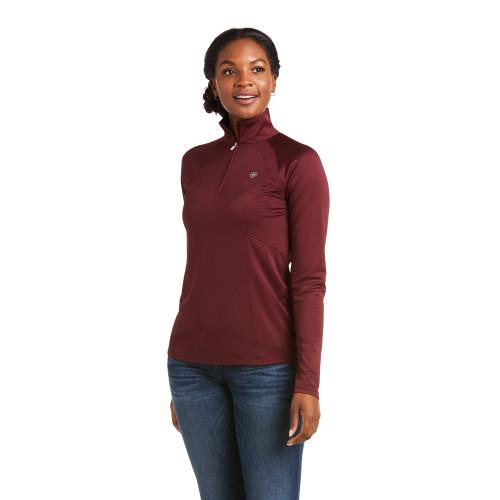 Ariat Sunstopper 2.0 Women's 1/4 Zip Long Sleeve Shirt - Windsor Wine