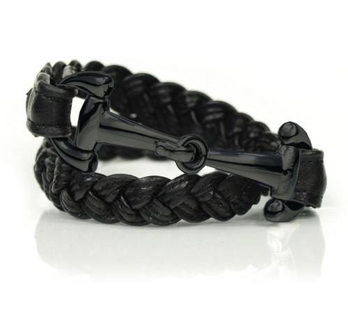 Dimacci  Alba Black Braided Mens PVD Bracelet