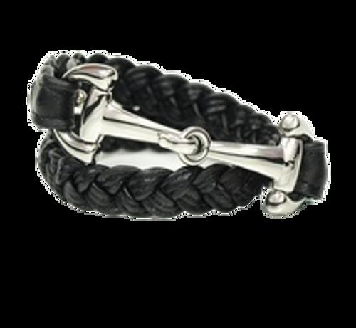 Dimacci Alba Black Braided Men's Bracelet -Silver Bit