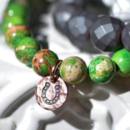Rally Beads Green Impression Jasper w/ Copper Horse Shoe