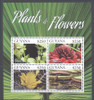 GUYANA: Flowering Plants 2015- Sheet of 4- Yerba Mate- Zebra Plant etc