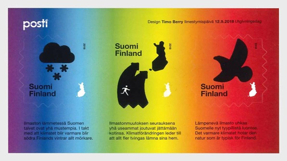 FINLAND'S HEAT SENSITIVE SOUVENIR SHEET DRAMATICALLY  DISPLAYS IMPACT OF GLOBAL WARMING