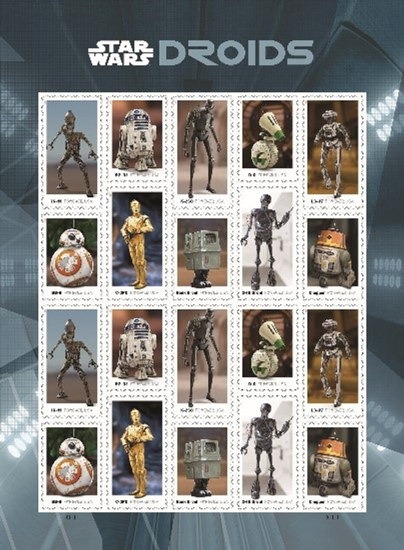 """LATEST UNITED STATES POSTAL ISSUE ADDS STAR WARS """"DROIDS"""" TO THEIR SCIENCE, FANTASY, & TECHNOLOGY COLLECTION"""