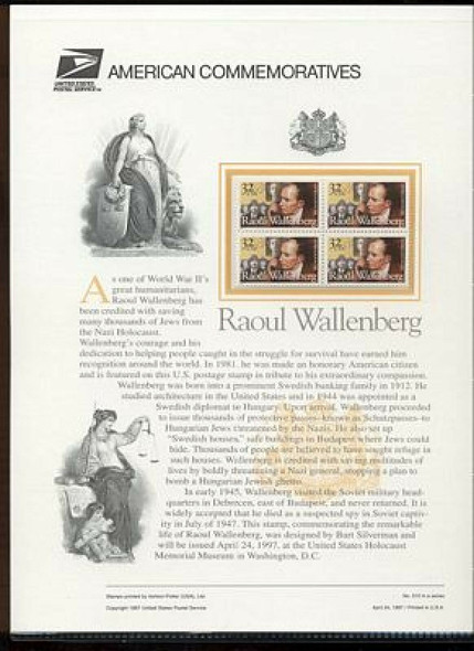 US (1997) Raul Wallenberg, Humanitarian- Sheet of 20v & USPS Commemorative Page
