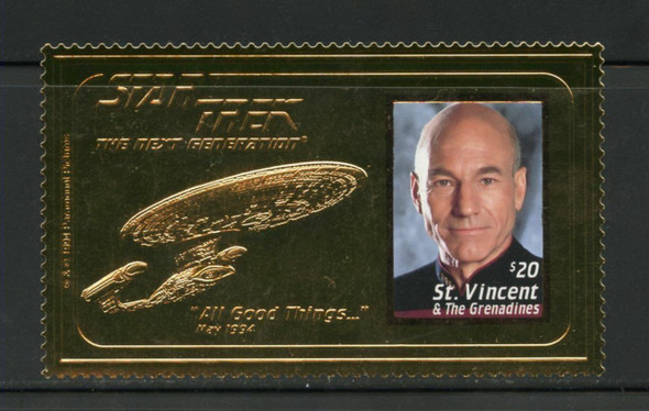 ST. VINCENT (1994)- STAR TREK GOLD FOIL $20 STAMP SHEET- PICCARD COLOR PHOTO