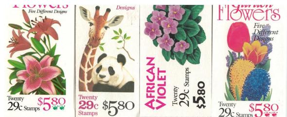 US DISCOUNT LOT-12 FLORA/FAUNA $5.80 BOOKLETS- WILD ANIMALS, GARDEN FLOWERS, ETC.- BELOW FACE VALUE!
