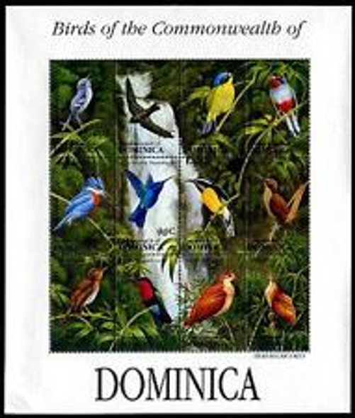 DOMINICA 1993 TROPICAL BIRD Sheet Colorful Birds Waterfall (12v)