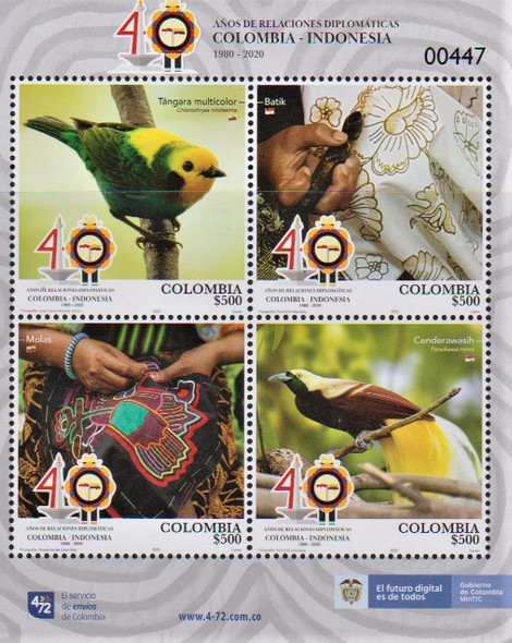 COLUMBIA  (2020)-Diplomatic Relations w/Indonesia- Sheet- birds,crafts