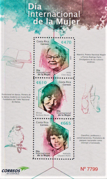 COSTA RICA- INTERNATIONAL WOMEN'S DAY SHEET OF 3v- ballet,environmentalist, etc.