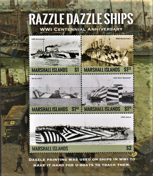 MARSHALL ISLANDS- WWI SHIPS- SHEET OF 6v