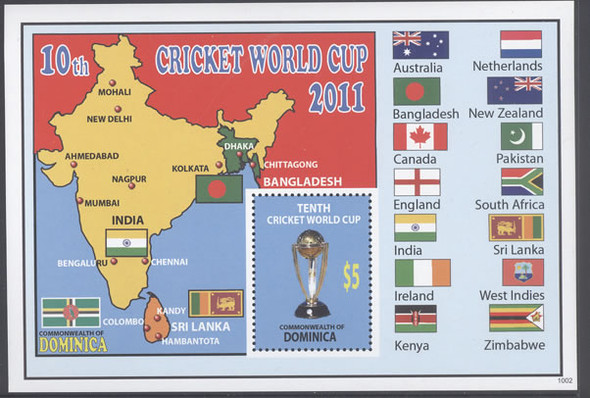 DOMINICA- Cricket World Cup 2011- souvenir sheet- trophy- map and flags in border