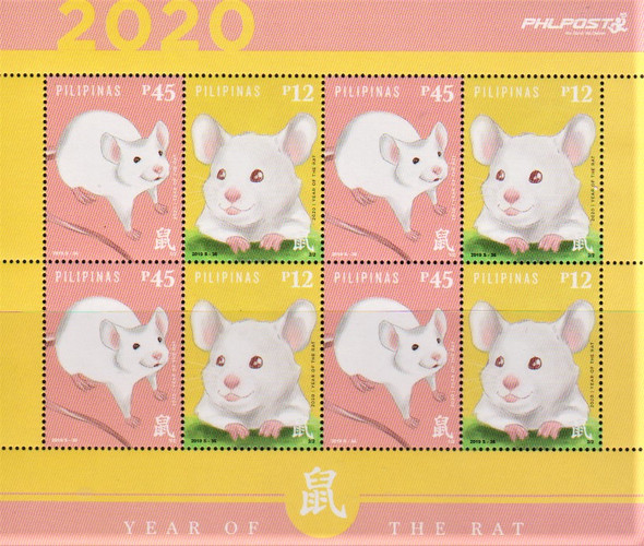 PHILLIPINES (2019)- YEAR OF THE RAT SHEET OF 8v & GOLD FOIL SOUVENIR SHEET