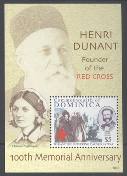 DOMINICA- H Dunant Red Cross 100th Memorial Anniv s.s.- F Nightingale in border