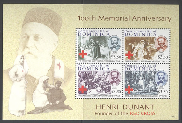 DOMINICA- H Dunant Red Cross 100th Memorial Anniv- Sheet of 4