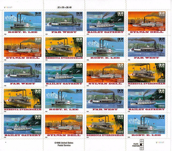 US (1995)- Steamboats Sheet of 20v- #3901-5