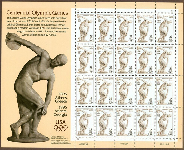US (1996)- Atlanta Olympics Sheet of 20- 32c