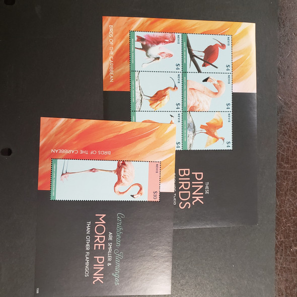 NEVIS (2017) Pink Birds, Flamingos, Ibis Etc Sheet Set