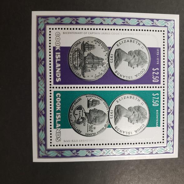 COOK ISLAND (1974) Bicentennial, Capt Cook, Coin SS of 2v