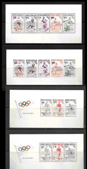DOMINICIAN REP. (1956)- 4 OLYMPIC WINNERS SOUVENIR SHEETS