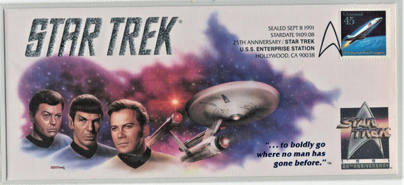 US (1991)- STAR TREK - 25TH ANNIVERSARY COVER- PARAMOUNT PICTURES CACHET!