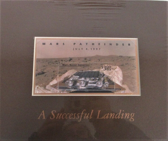 US (1997)- MARS PATHFINDER  $3 SOUVENIR SHEET IN MATTED PANE- ORIGINAL RETAIL=$19.95!