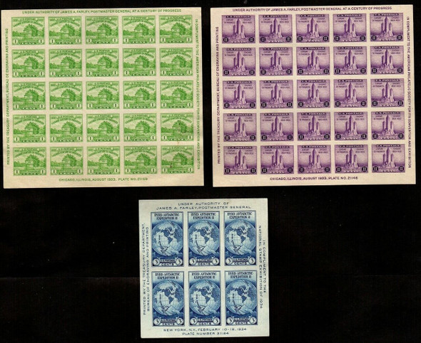 "US (1933)-- 3 MINT ""FARLEY"" IMPERFORATED SHEETS- #730,731, & 735 ALL MNH!"
