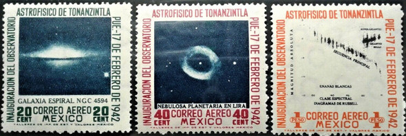 MEXICO (1942)- Astrophysics Congress  & Observatory (3v) C123-5- CAT>$65!
