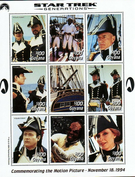 GUYANA (1994)- STAR TREK GENERATIONS PORTFOLIO- 3 Stamp Sheets- CAT>$49!