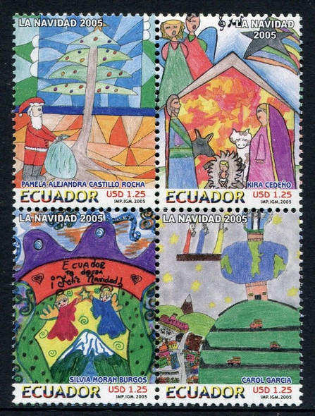 ECUADOR (2005)Christmas - Children's Paintings, Religious Scenes (4)
