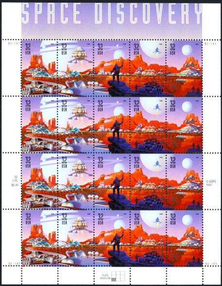 US (1998)-  32c Space Discovery  Sheet of 20- #32442a