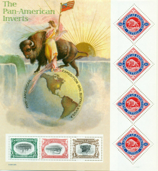 US (2001) --SCOTT # 3505 PAN AMERICAN INVERTS SHEET