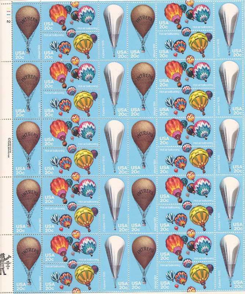 US (1983)- Hot Air Balloons Sheet of 40v