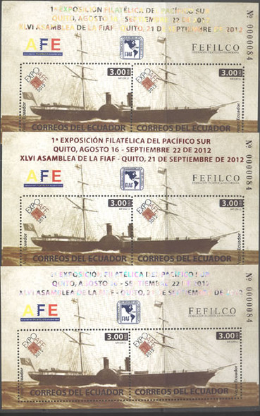 ECUADOR (2013)- Philatelic Exhibit Quito souvenir sheets- ship- stamp on stamp (3)