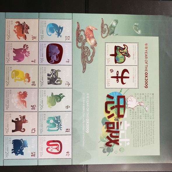 CHRISTMAS ISLANDS (2009) Year Of The OX With Foil  Sheet of 14 LAST ONE
