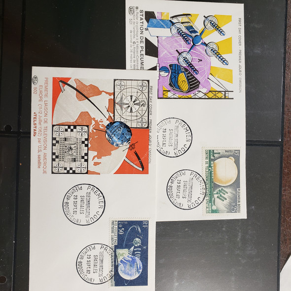 FRANCE (1962) FDC Cover Pair  Space Communications, Testarossa Satellite