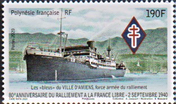 FR. POLYNESIA  (2021)- WWII Anniversary- Ship