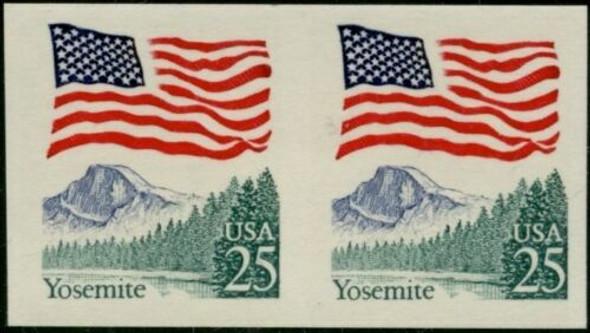US (1988)--25c YOSEMITE COIL ERROR- IMPERFORATED PAIR - #2281a