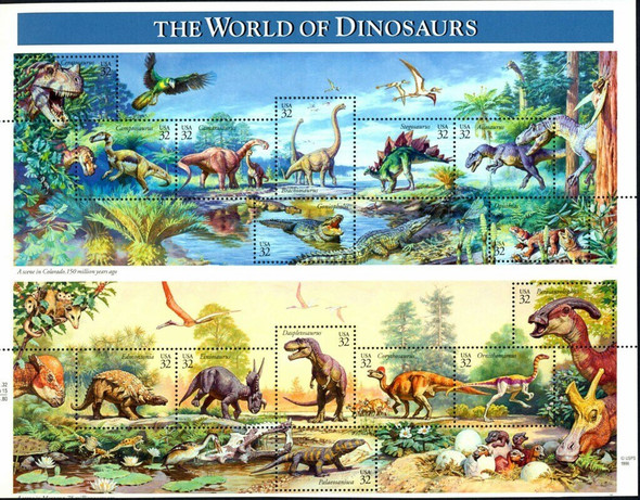 U.S. World of Dinosaurs (1997) --Mint Sheet w/First Day Covers