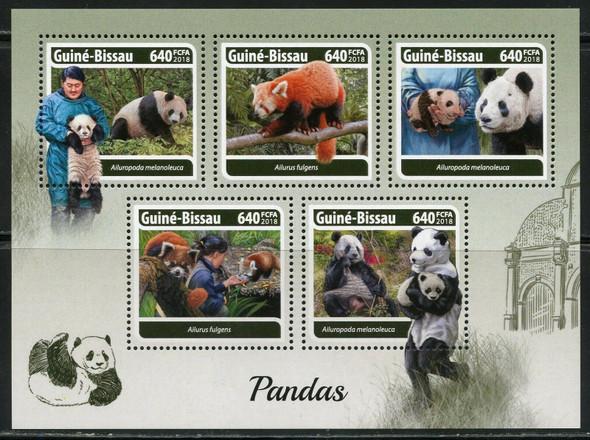 GUINEA BISSAU (2018) Panda Sheet of 5v and  Souvenir Sheet